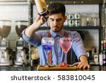 expert barman is making... | Shutterstock . vector #583810045