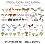 flat 3d isometric africa flora... | Shutterstock .eps vector #583810999