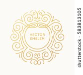 vector trendy linear frame with ... | Shutterstock .eps vector #583813105