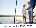 happy senior female looknig at... | Shutterstock . vector #583813975