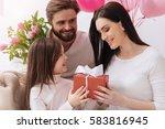 cheerful positive girl giving a ... | Shutterstock . vector #583816945