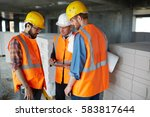 group of three workmen wearing... | Shutterstock . vector #583817644