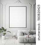mock up poster frame in hipster ... | Shutterstock . vector #583820425