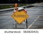 Flooded Road Sign In Pescadero...