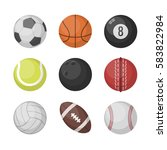sports balls vector set.... | Shutterstock .eps vector #583822984