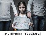little sad girl standing... | Shutterstock . vector #583823524