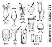 cocktails   set of hand drawn... | Shutterstock .eps vector #583824181