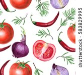 tomato  onion  pepper  and... | Shutterstock . vector #583829995
