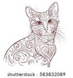 monochrome image cat. linear... | Shutterstock .eps vector #583832089