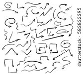 vector set of hand drawn arrows ... | Shutterstock .eps vector #583832395