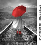 Girl With A Red Umbrella On The ...