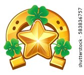 happy star. lucky gold mascot.... | Shutterstock .eps vector #583836757