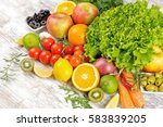 fresh fruits and vegetables  ... | Shutterstock . vector #583839205