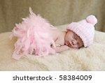 a sleeping baby girl wearing... | Shutterstock . vector #58384009