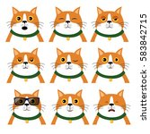 set of different emotions cat.  ... | Shutterstock .eps vector #583842715