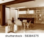 modern dining room with wood... | Shutterstock . vector #58384375