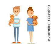 people vector with pets | Shutterstock .eps vector #583845445