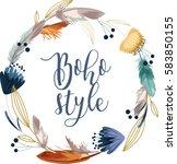 boho style calligraphy...   Shutterstock .eps vector #583850155