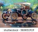 Old Auto Retro Car  Oil...