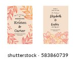 wedding invitation cards with... | Shutterstock .eps vector #583860739
