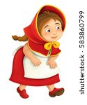 cartoon little girl running and ... | Shutterstock . vector #583860799