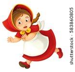 cartoon little girl running and ... | Shutterstock . vector #583860805