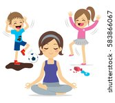 noisy children playing and... | Shutterstock .eps vector #583866067