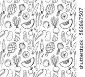 hand drawn vector seamless... | Shutterstock .eps vector #583867507