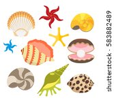 set of sea shells  oysters with ...   Shutterstock .eps vector #583882489