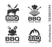 bbq logo set. bbq icon. grill... | Shutterstock .eps vector #583883494