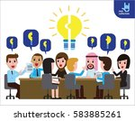 brainstorming idea lightbulb... | Shutterstock .eps vector #583885261