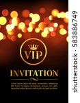 vip invitation card with gold... | Shutterstock .eps vector #583886749