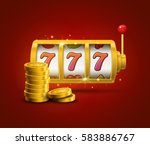 Slot machine lucky sevens jackpot concept 777. Vector casino game. Slot machine with money coins. Fortune chance jackpot - stock vector