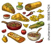 mexican traditional food set... | Shutterstock .eps vector #583887424