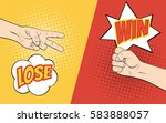 rock paper scissors hand game.... | Shutterstock . vector #583888057