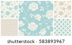 vector set of vintage seamless... | Shutterstock .eps vector #583893967
