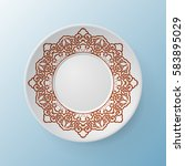decorative plate with round... | Shutterstock .eps vector #583895029