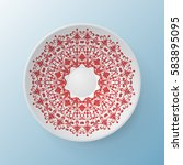 decorative plate with round... | Shutterstock .eps vector #583895095