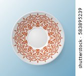 decorative plate with round... | Shutterstock .eps vector #583895239