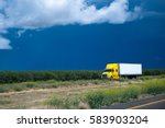 comfortable yellow semi truck... | Shutterstock . vector #583903204