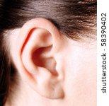closeup of a human ear | Shutterstock . vector #58390402