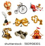 old objects. vintage icon set ... | Shutterstock .eps vector #583908301