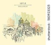 st. alexander nevsky cathedral... | Shutterstock .eps vector #583923325