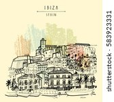 old city of ibiza town ... | Shutterstock .eps vector #583923331