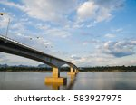 cloud and sky with long bridge. | Shutterstock . vector #583927975