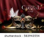 venice carnival poster  black... | Shutterstock .eps vector #583943554