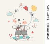 cute baby bear on skateboard.... | Shutterstock .eps vector #583944397