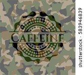 caffeine on camouflaged pattern   Shutterstock .eps vector #583946839