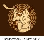 jew blowing the shofar sheep... | Shutterstock .eps vector #583947319