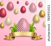 happy easter pink background... | Shutterstock .eps vector #583951021
